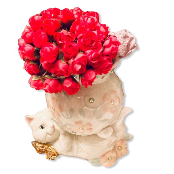Lenox Other - Lenox Petals and Pearls Cat bud vase with flowers